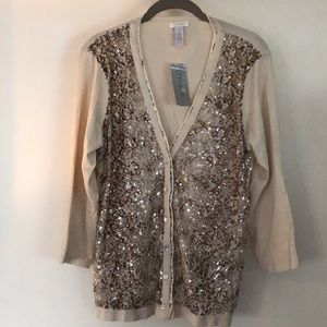 Chico's python print sequined cardigan size 1